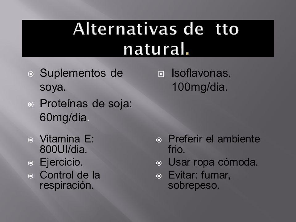 Suplementos de soya. Proteínas de soja: 60mg/dia. Isoflavonas. 100mg/dia. Vitamina E: 800UI/dia. Ejercicio. Control de la respiración. Preferir el amb