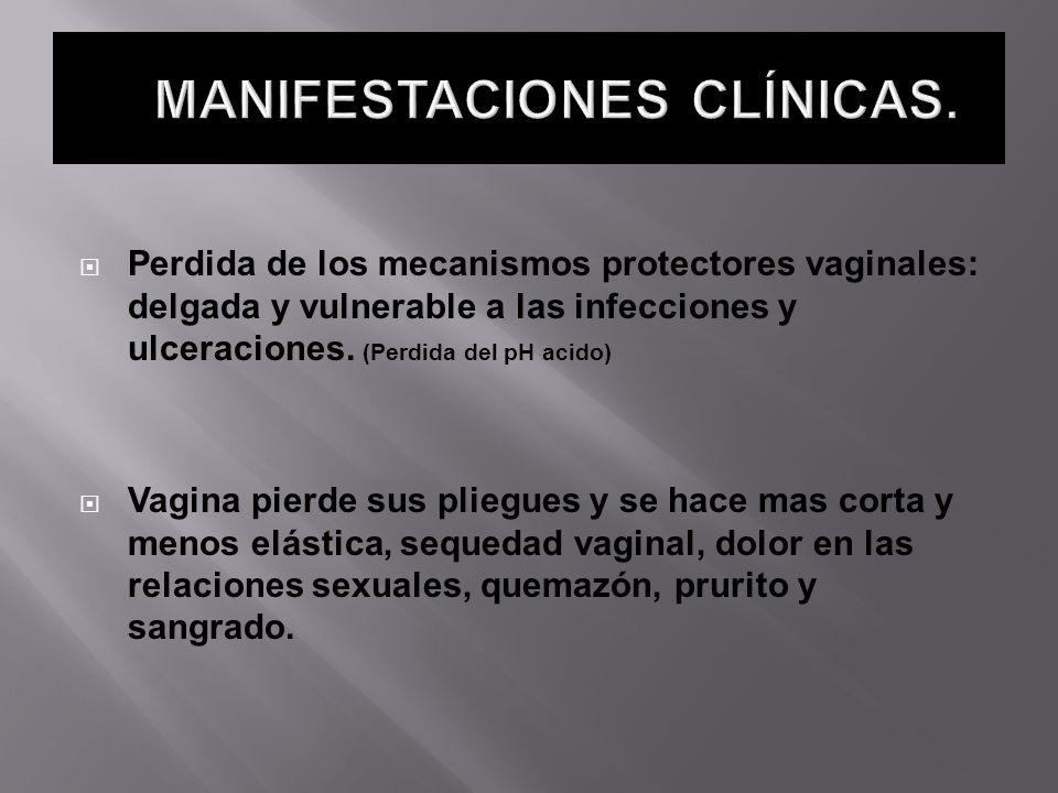 Perdida de los mecanismos protectores vaginales: delgada y vulnerable a las infecciones y ulceraciones. (Perdida del pH acido) Vagina pierde sus plieg