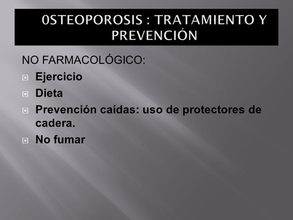 NO FARMACOLÓGICO: Ejercicio Dieta Prevención caídas: uso de protectores de cadera. No fumar