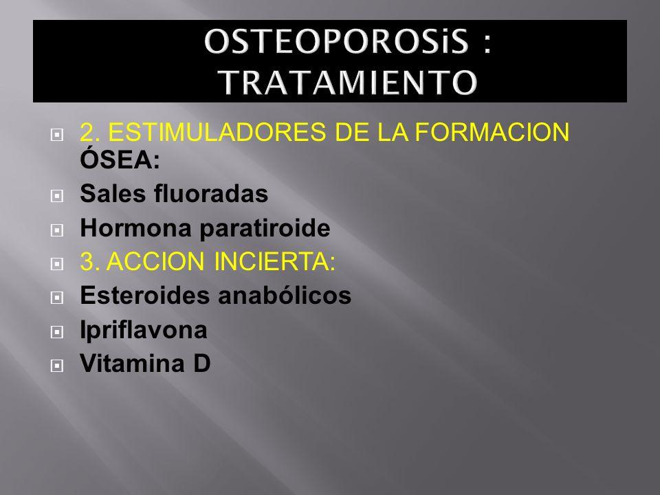 2. ESTIMULADORES DE LA FORMACION ÓSEA: Sales fluoradas Hormona paratiroide 3. ACCION INCIERTA: Esteroides anabólicos Ipriflavona Vitamina D
