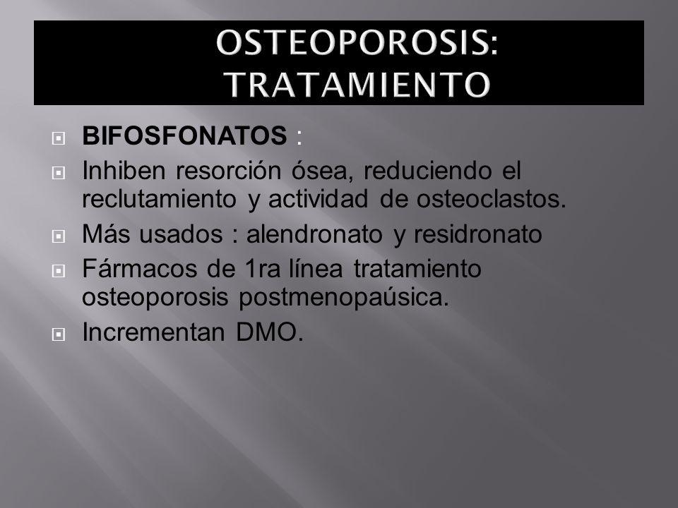 BIFOSFONATOS : Inhiben resorción ósea, reduciendo el reclutamiento y actividad de osteoclastos. Más usados : alendronato y residronato Fármacos de 1ra