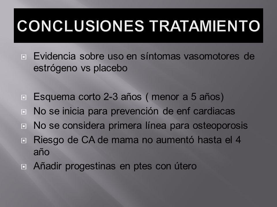 Evidencia sobre uso en síntomas vasomotores de estrógeno vs placebo Esquema corto 2-3 años ( menor a 5 años) No se inicia para prevención de enf cardi