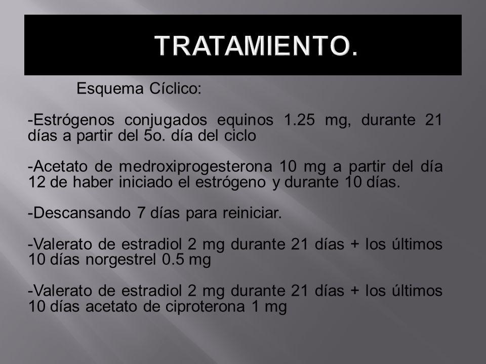 Esquema Cíclico: -Estrógenos conjugados equinos 1.25 mg, durante 21 días a partir del 5o. día del ciclo -Acetato de medroxiprogesterona 10 mg a partir