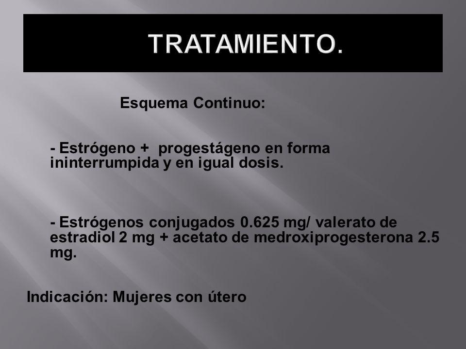 Esquema Continuo: - Estrógeno + progestágeno en forma ininterrumpida y en igual dosis. - Estrógenos conjugados 0.625 mg/ valerato de estradiol 2 mg +