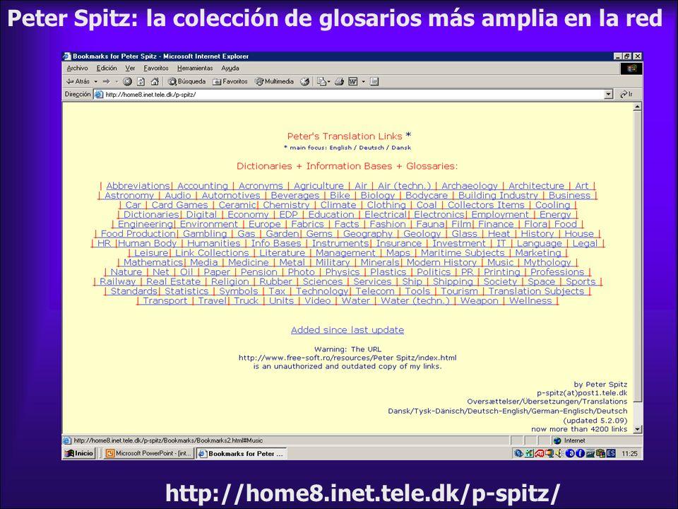 Peter Spitz: la colección de glosarios más amplia en la red http://home8.inet.tele.dk/p-spitz/