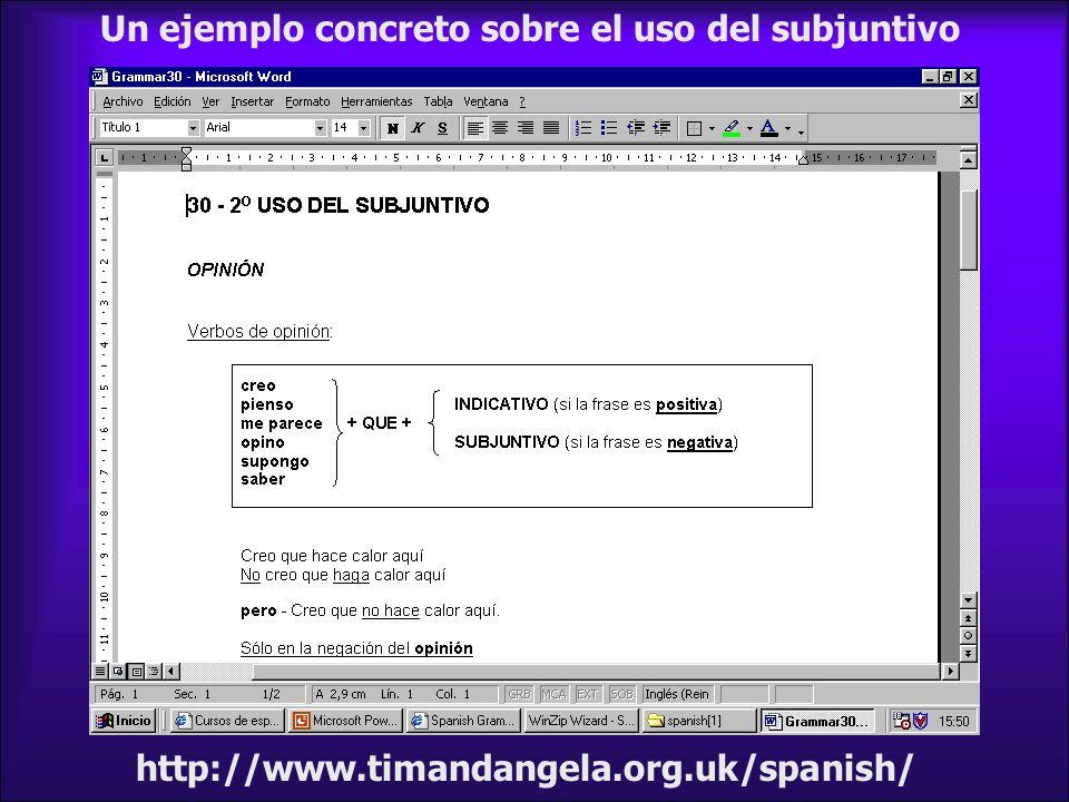 http://www.timandangela.org.uk/spanish/ Un ejemplo concreto sobre el uso del subjuntivo
