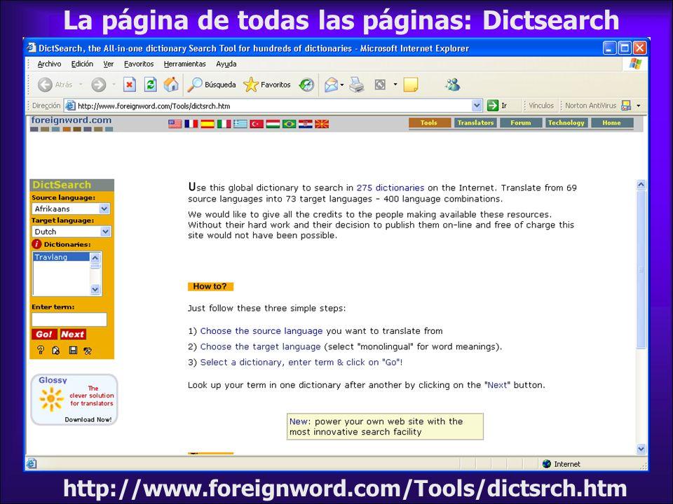http://www.foreignword.com/Tools/dictsrch.htm Elige el idioma de salida, el de llegada y la base de datos lingüística e introduce el término