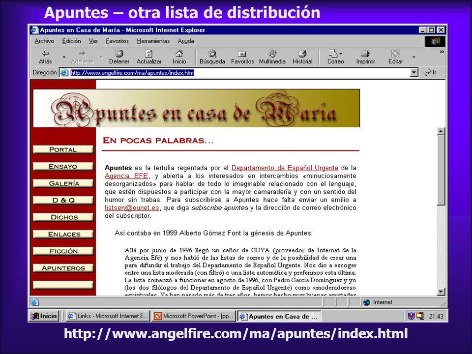 http://www.angelfire.com/ma/apuntes/index.html Apuntes – otra lista de distribución