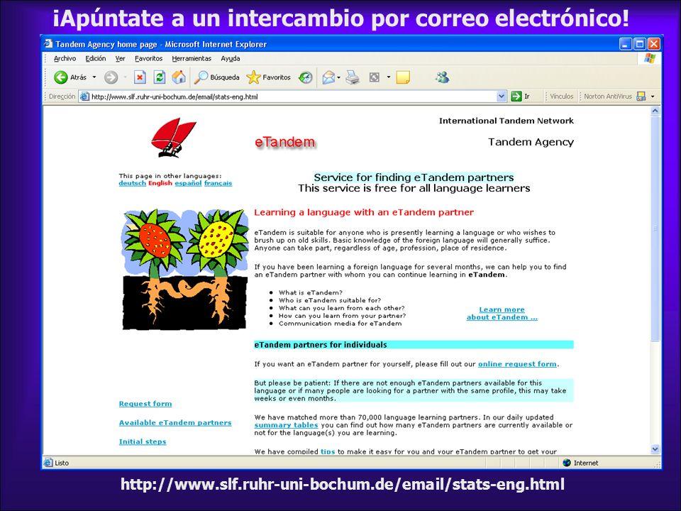 ¡Apúntate a un intercambio por correo electrónico! http://www.slf.ruhr-uni-bochum.de/email/stats-eng.html