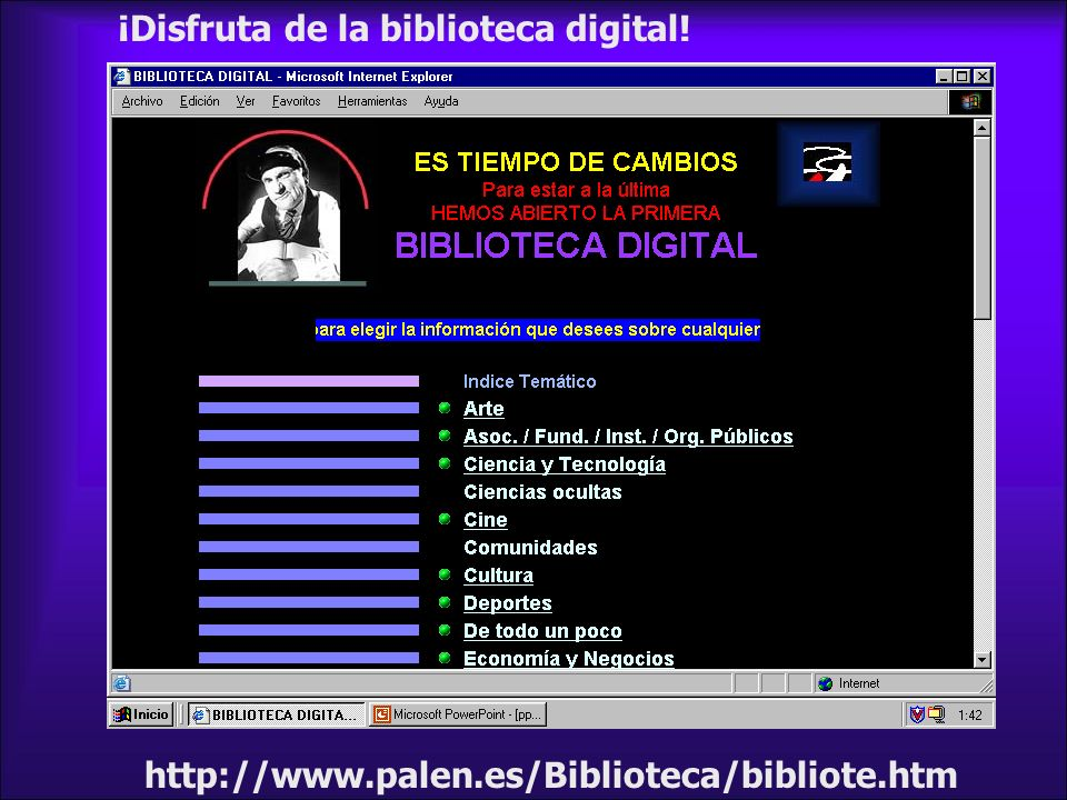 ¡Disfruta de la biblioteca digital! http://www.palen.es/Biblioteca/bibliote.htm