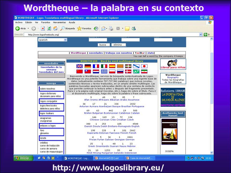 Wordtheque – la palabra en su contexto http://www.logoslibrary.eu/