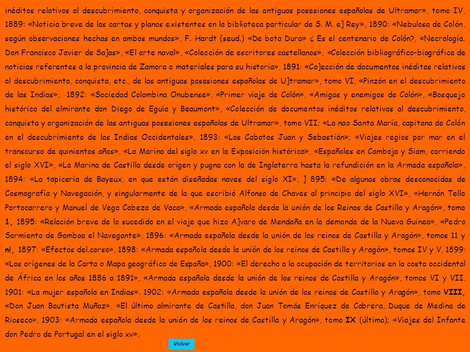 inéditos relativos al descubrimiento, conquista y organización de las antiguas posesiones españolas de Ultramar», tomo IV, 1889: «Noticia breve de las