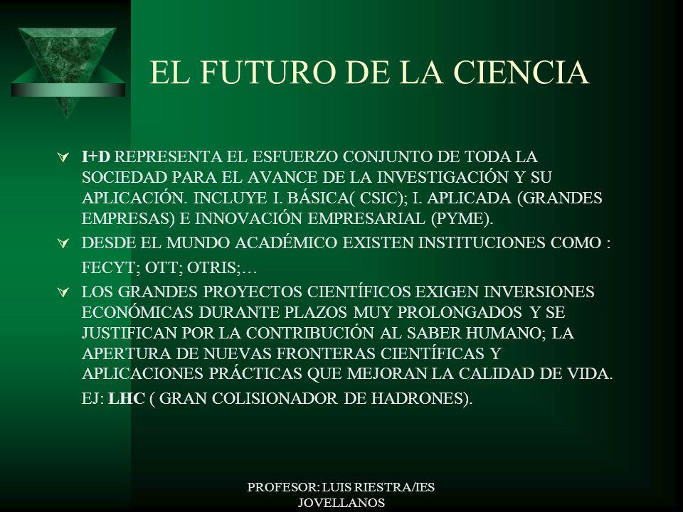 EL FUTURO DE LA CIENCIA I+D REPRESENTA EL ESFUERZO CONJUNTO DE TODA LA SOCIEDAD PARA EL AVANCE DE LA INVESTIGACIÓN Y SU APLICACIÓN.