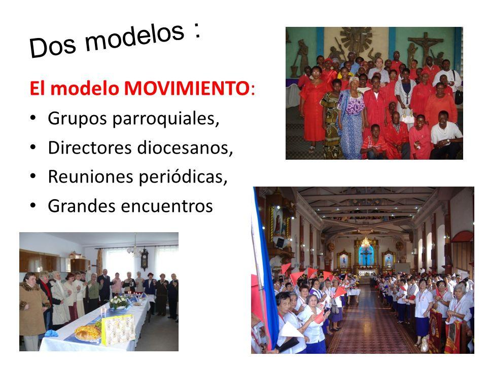 Dos modelos : El modelo MOVIMIENTO: Grupos parroquiales, Directores diocesanos, Reuniones periódicas, Grandes encuentros
