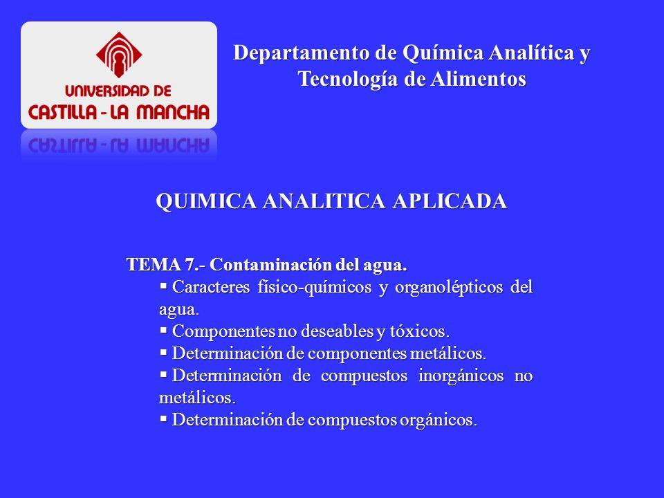 QUIMICA ANALITICA APLICADA Departamento de Química Analítica y Tecnología de Alimentos TEMA 7.- Contaminación del agua. Caracteres físico-químicos y o