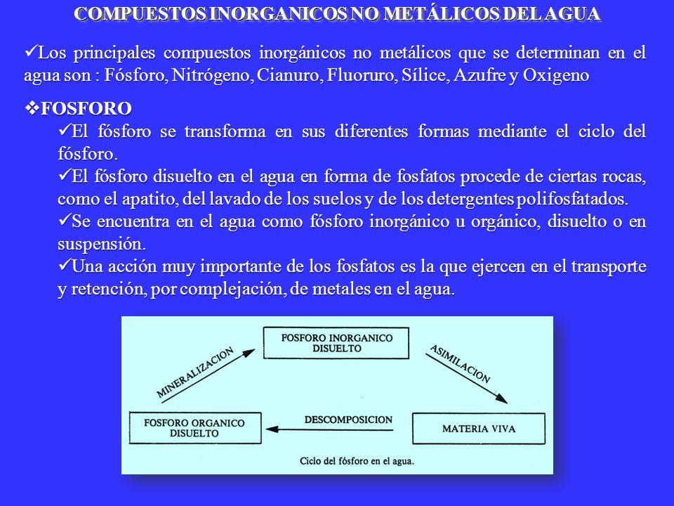 COMPUESTOS INORGANICOS NO METÁLICOS DEL AGUA Los principales compuestos inorgánicos no metálicos que se determinan en el agua son : Fósforo, Nitrógeno