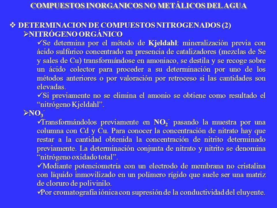 DETERMINACION DE COMPUESTOS NITROGENADOS (2) DETERMINACION DE COMPUESTOS NITROGENADOS (2) NITRÓGENO ORGÁNICO NITRÓGENO ORGÁNICO Se determina por el mé