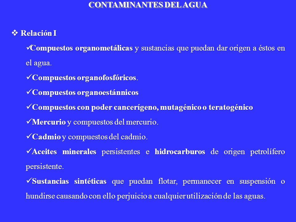CONTAMINANTES ORGÁNICOS ESPECIALES Los principales contaminantes orgánicos considerados especiales en aguas son: Detergentes, Aceites y Grasas, Pesticidas e Hidrocarburos Los principales contaminantes orgánicos considerados especiales en aguas son: Detergentes, Aceites y Grasas, Pesticidas e Hidrocarburos DETERGENTES : Sustancias utilizadas en limpieza por sus propiedades tensoactivas y emulsionantes DETERGENTES : Sustancias utilizadas en limpieza por sus propiedades tensoactivas y emulsionantes Componentes de un detergente Componentes de un detergente Agente tensoactivo o surfactante Agente tensoactivo o surfactante Agentes coadyuvantes : a) Polifosfatos; b) Silicatos solubles; c) Carbonatos ; d) Perboratos Agentes coadyuvantes : a) Polifosfatos; b) Silicatos solubles; c) Carbonatos ; d) Perboratos Agentes auxiliares : a) Sulfato de sodio; b) Sustancias fluorescentes ; c) Enzima ; d) Carboximetilcelulosa ; e) Estabilizadores de espuma ; f) Colorantes Agentes auxiliares : a) Sulfato de sodio; b) Sustancias fluorescentes ; c) Enzima ; d) Carboximetilcelulosa ; e) Estabilizadores de espuma ; f) Colorantes Perfumes Perfumes Agentes tensoactivos según la naturaleza del grupo polar Agentes tensoactivos según la naturaleza del grupo polar Agente tensoactivo anionicos Agente tensoactivo anionicos Derivado del alquilbencensulfonato Ejemplo: dodecilbencensulfonato de sodio C 12 H 25 -C 6 H 4 -SO 3 Na Derivado del arilalquilsulfonatos R-C 6 H 4 -SO 3 Na, Agente tensoactivo cationicos Agente tensoactivo cationicos Grupo hidrofilo Clorhidrato de amina RMe 3 N + Cl o derivados de amonio cuaternario Agente tensoactivo no ionicos Agente tensoactivo no ionicos Grupos hidroxilados que no se ionizan.