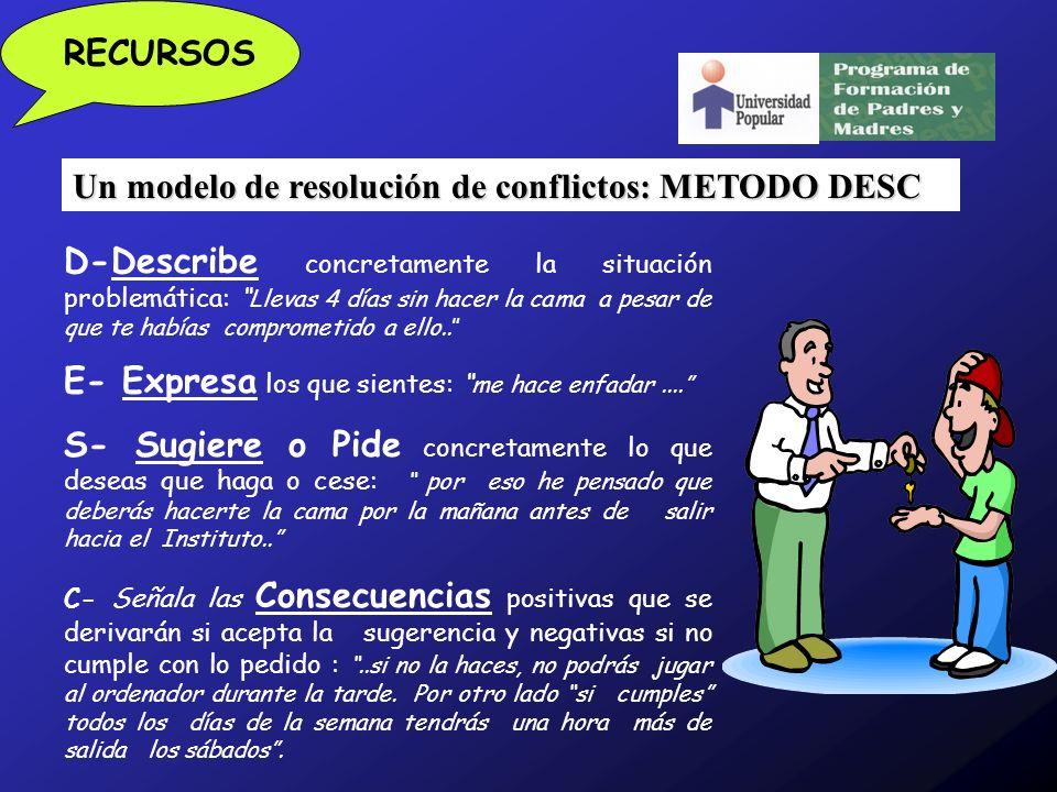Un modelo de resolución de conflictos: METODO DESC RECURSOS D-Describe concretamente la situación problemática: Llevas 4 días sin hacer la cama a pesar de que te habías comprometido a ello..