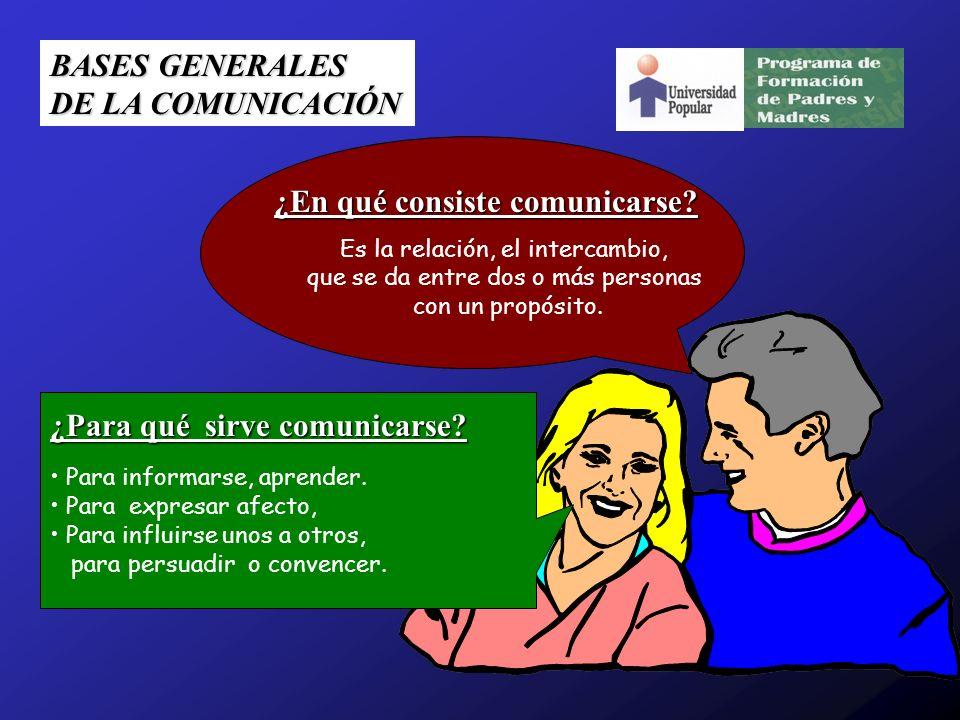 BASES GENERALES DE LA COMUNICACIÓN ¿En qué consiste comunicarse? Es la relación, el intercambio, que se da entre dos o más personas con un propósito.
