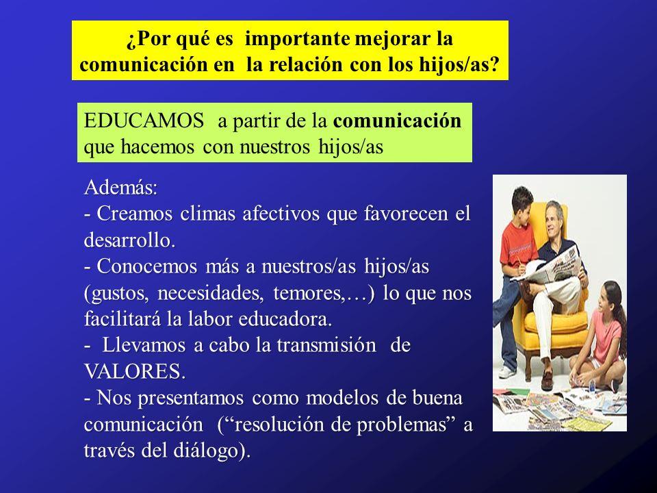 Características de la COMUNICACIÓN PADRES Y MADRES CON HIJOS/AS Comunicación cargada de EMOTIVIDAD (ansiedad, preocupación, afecto, miedo,...) y de RESPONSABILIDAD (actitudes entrometidas) No comunicación entre iguales.