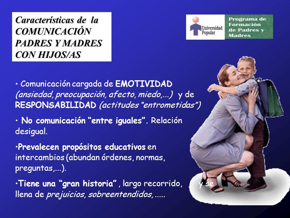 Características de la COMUNICACIÓN PADRES Y MADRES CON HIJOS/AS Comunicación cargada de EMOTIVIDAD (ansiedad, preocupación, afecto, miedo,...) y de RE