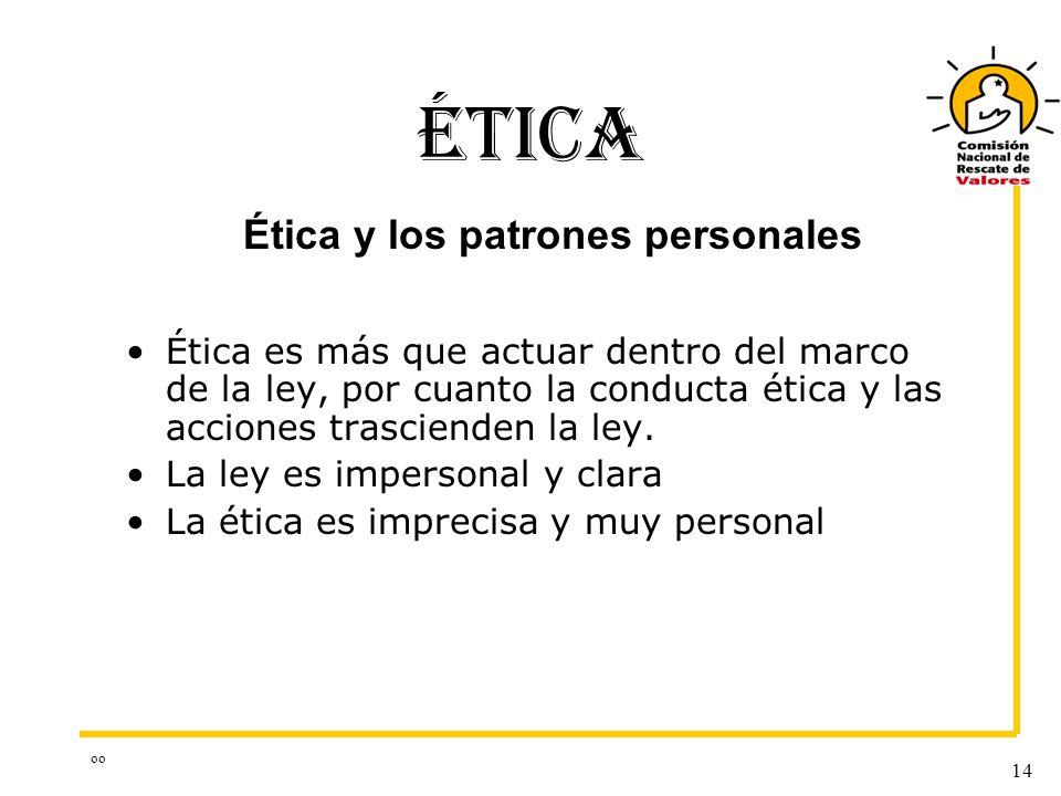 oo 14 ÉTICA Ética es más que actuar dentro del marco de la ley, por cuanto la conducta ética y las acciones trascienden la ley. La ley es impersonal y