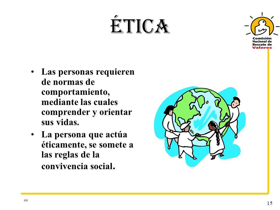 oo 15 ÉTICA Las personas requieren de normas de comportamiento, mediante las cuales comprender y orientar sus vidas. La persona que actúa éticamente,