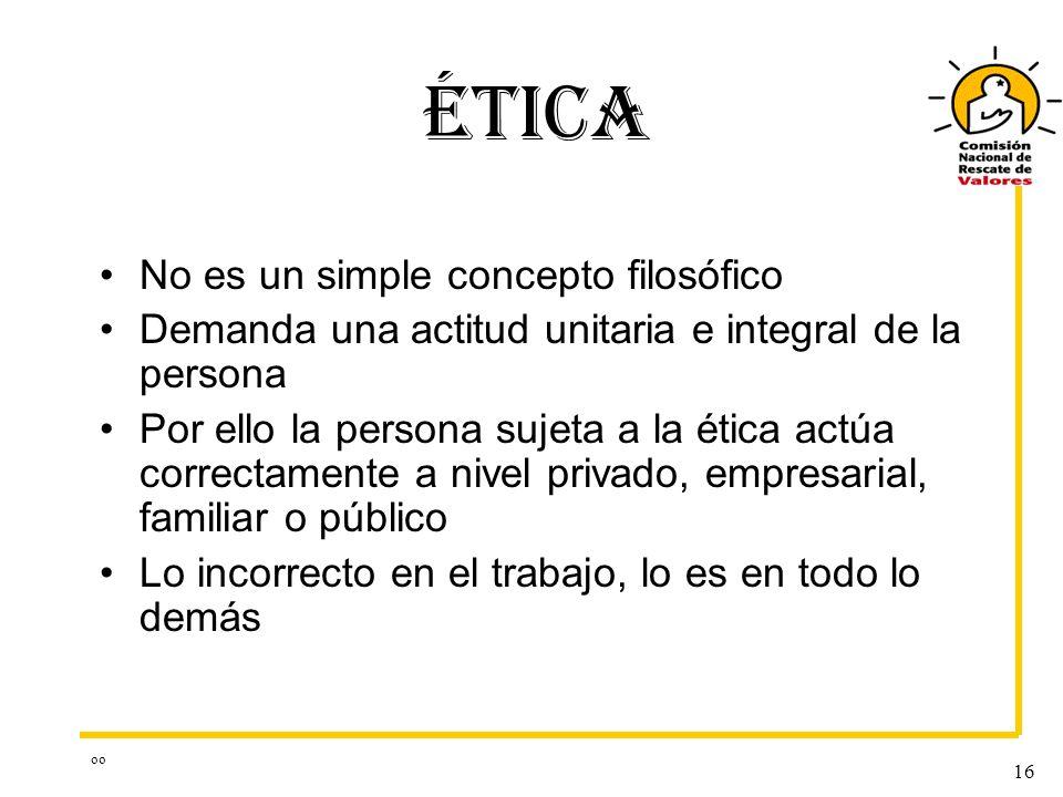 oo 16 ÉTICA No es un simple concepto filosófico Demanda una actitud unitaria e integral de la persona Por ello la persona sujeta a la ética actúa corr