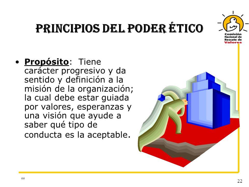 oo 22 PRINCIPIOS DEL PODER ÉTICO Propósito: Tiene carácter progresivo y da sentido y definición a la misión de la organización; la cual debe estar gui