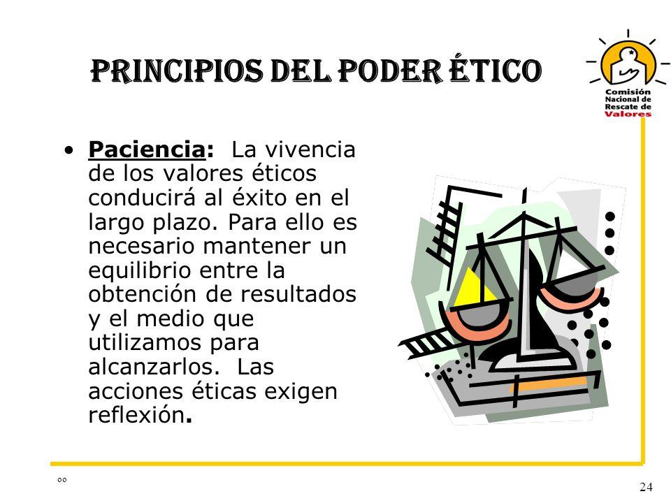 oo 24 PRINCIPIOS DEL PODER ÉTICO Paciencia: La vivencia de los valores éticos conducirá al éxito en el largo plazo. Para ello es necesario mantener un