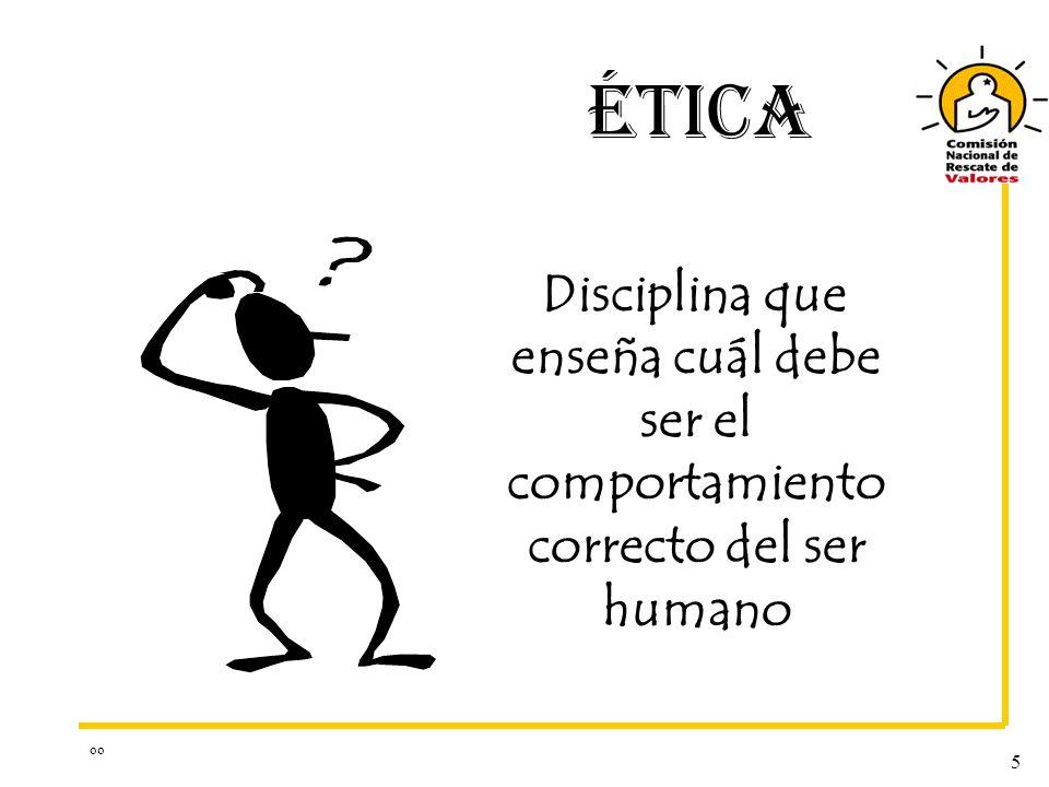oo 5 ÉTICA Disciplina que enseña cuál debe ser el comportamiento correcto del ser humano