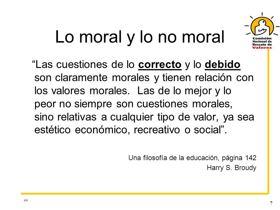 oo 7 Lo moral y lo no moral Las cuestiones de lo correcto y lo debido son claramente morales y tienen relación con los valores morales. Las de lo mejo