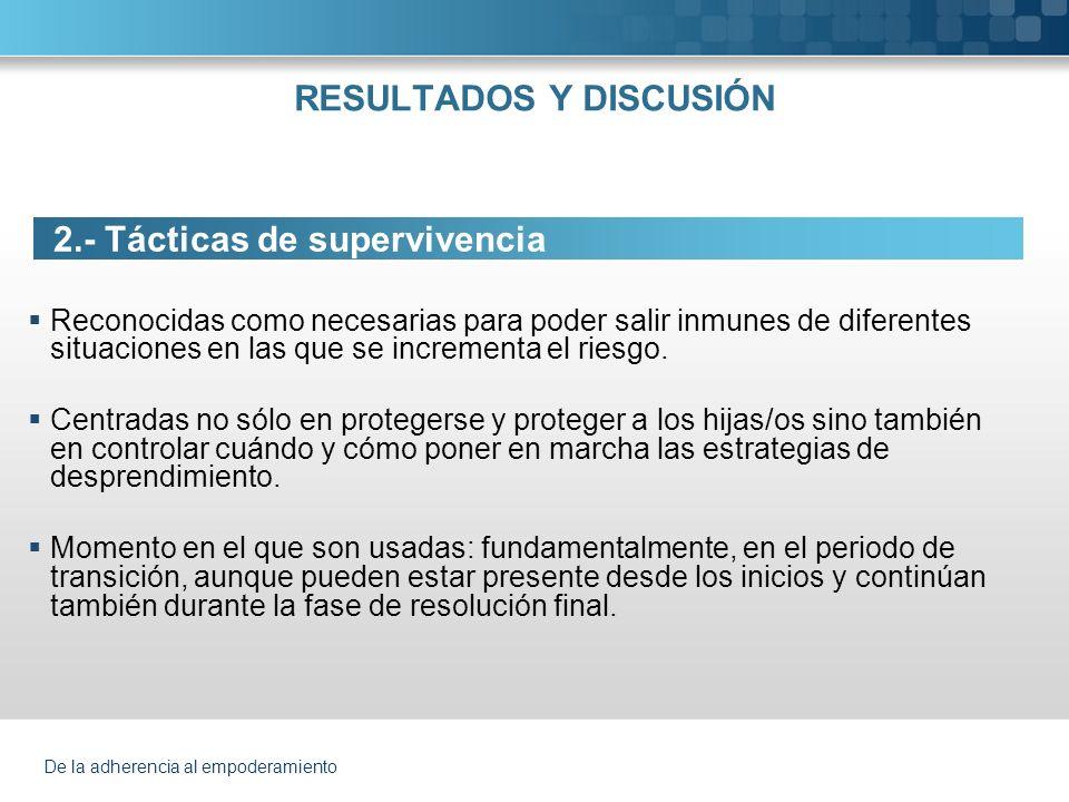 De la adherencia al empoderamiento 2.Tácticas de supervivencia 2.1.