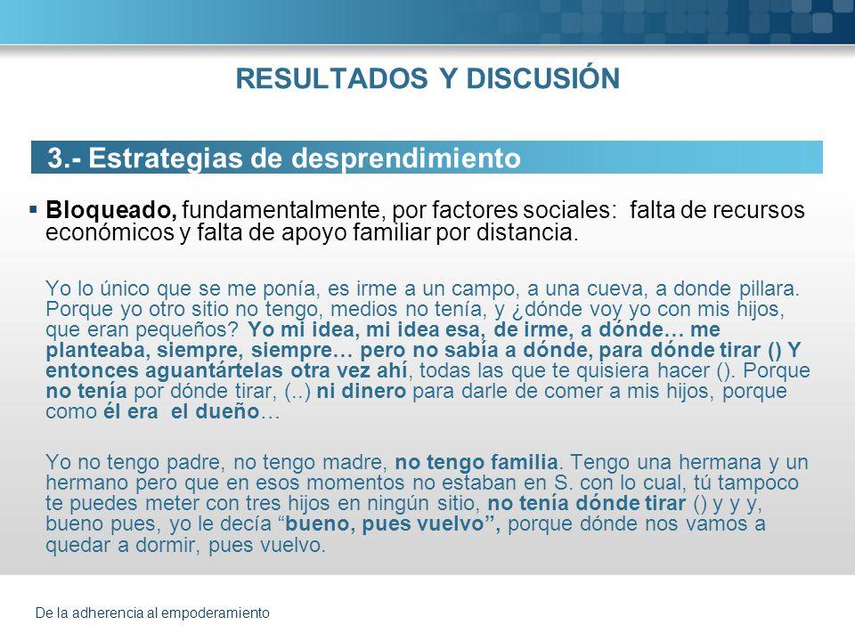De la adherencia al empoderamiento RESULTADOS Y DISCUSIÓN 3.- Estrategias de desprendimiento Bloqueado, fundamentalmente, por factores sociales: falta