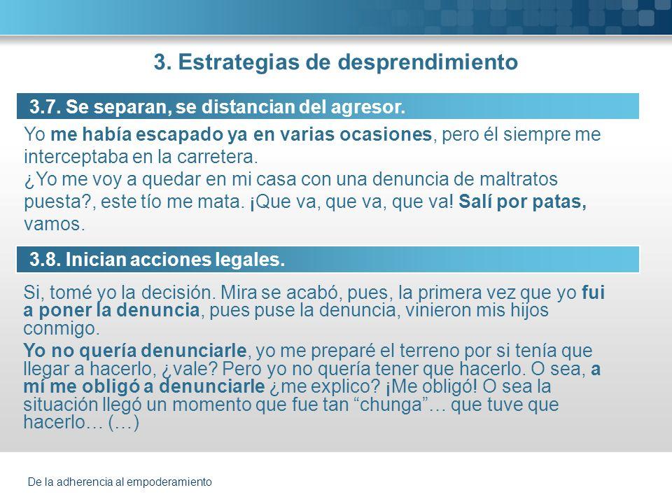 De la adherencia al empoderamiento 3. Estrategias de desprendimiento 3.7. Se separan, se distancian del agresor. 3.8. Inician acciones legales. Si, to