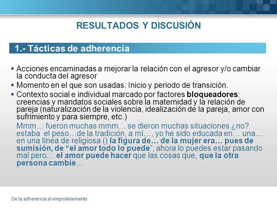 De la adherencia al empoderamiento RESULTADOS Y DISCUSIÓN 1.- Tácticas de adherencia Acciones encaminadas a mejorar la relación con el agresor y/o cam