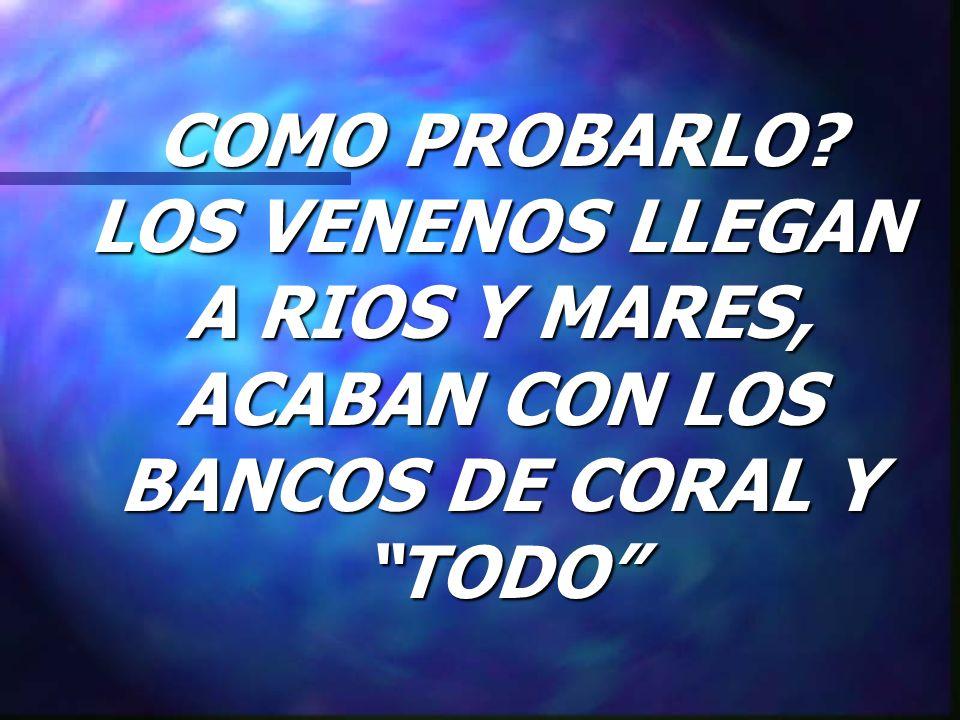 COMO PROBARLO LOS VENENOS LLEGAN A RIOS Y MARES, ACABAN CON LOS BANCOS DE CORAL Y TODO