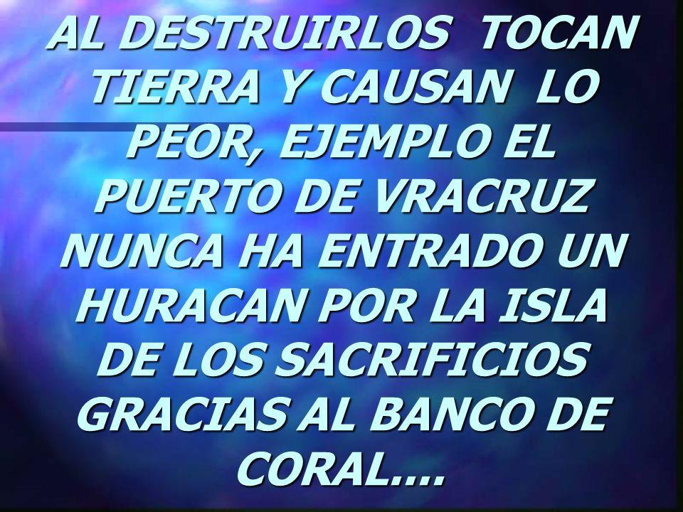 AL DESTRUIRLOS TOCAN TIERRA Y CAUSAN LO PEOR, EJEMPLO EL PUERTO DE VRACRUZ NUNCA HA ENTRADO UN HURACAN POR LA ISLA DE LOS SACRIFICIOS GRACIAS AL BANCO DE CORAL....