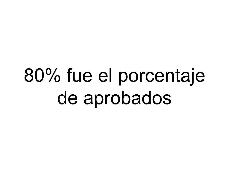 80% fue el porcentaje de aprobados