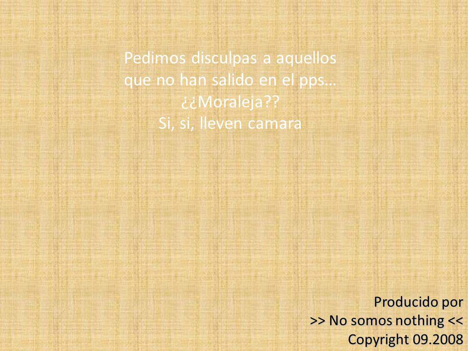 Producido por >> No somos nothing > No somos nothing << Copyright 09.2008 Pedimos disculpas a aquellos que no han salido en el pps… ¿¿Moraleja?? Si, s