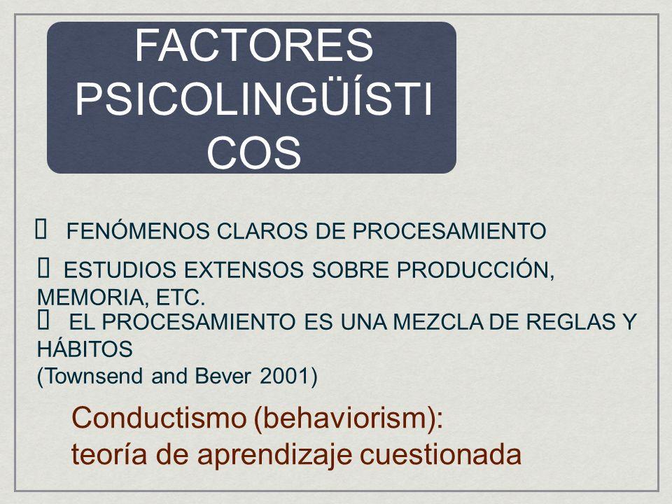 FACTORES PSICOLINGÜÍSTI COS FENÓMENOS CLAROS DE PROCESAMIENTO ESTUDIOS EXTENSOS SOBRE PRODUCCIÓN, MEMORIA, ETC. Conductismo (behaviorism): teoría de a