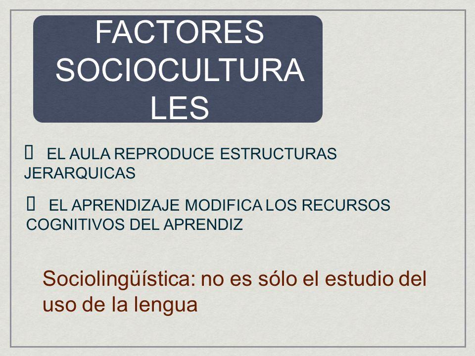 FACTORES SOCIOCULTURA LES EL AULA REPRODUCE ESTRUCTURAS JERARQUICAS EL APRENDIZAJE MODIFICA LOS RECURSOS COGNITIVOS DEL APRENDIZ Sociolingüística: no es sólo el estudio del uso de la lengua