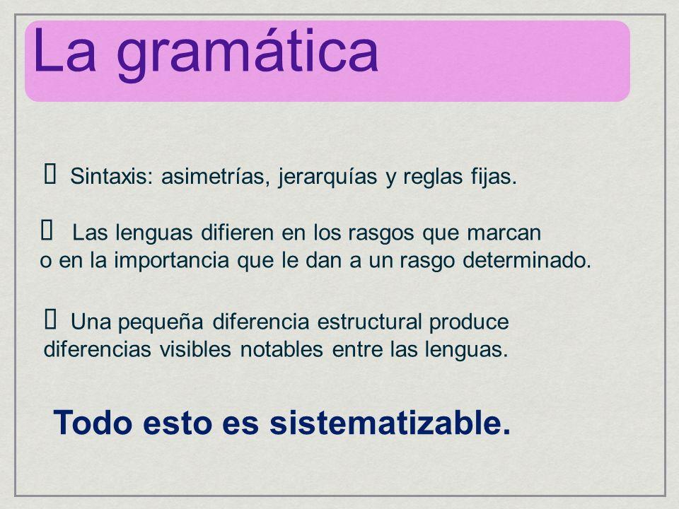 Sintaxis: asimetrías, jerarquías y reglas fijas. Una pequeña diferencia estructural produce diferencias visibles notables entre las lenguas. Las lengu