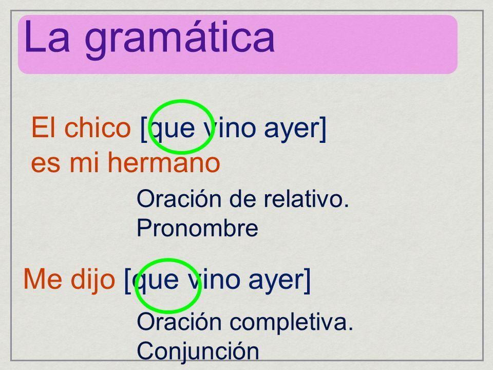 El chico [que vino ayer] es mi hermano Me dijo [que vino ayer] La gramática Oración de relativo.