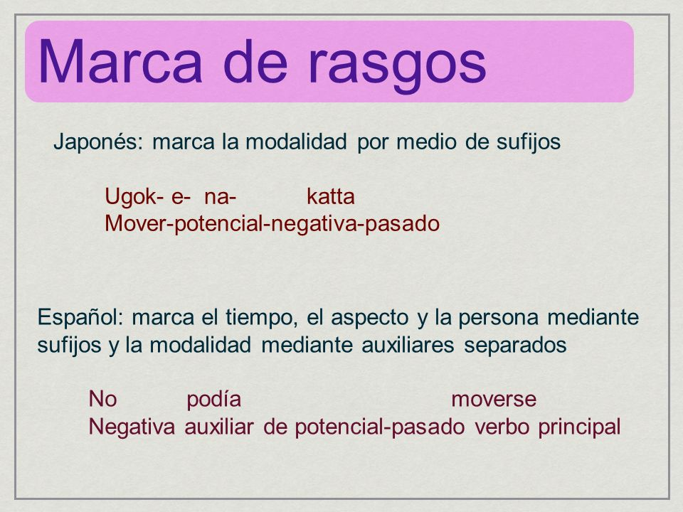 Marca de rasgos Español: marca el tiempo, el aspecto y la persona mediante sufijos y la modalidad mediante auxiliares separados No podía moverse Negat