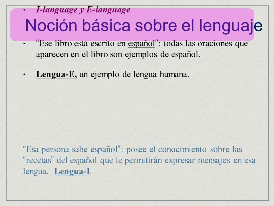 Noción básica sobre el lenguaje I-language y E-language Ese libro está escrito en español : todas las oraciones que aparecen en el libro son ejemplos