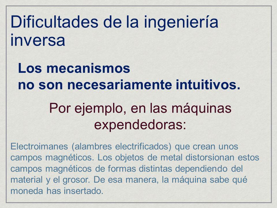 Dificultades de la ingeniería inversa Los mecanismos no son necesariamente intuitivos. Por ejemplo, en las máquinas expendedoras: Electroimanes (alamb