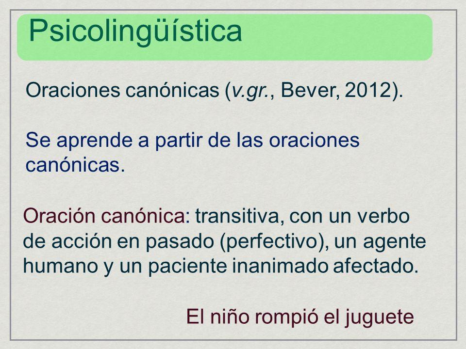 Oraciones canónicas (v.gr., Bever, 2012). Se aprende a partir de las oraciones canónicas. Oración canónica: transitiva, con un verbo de acción en pasa