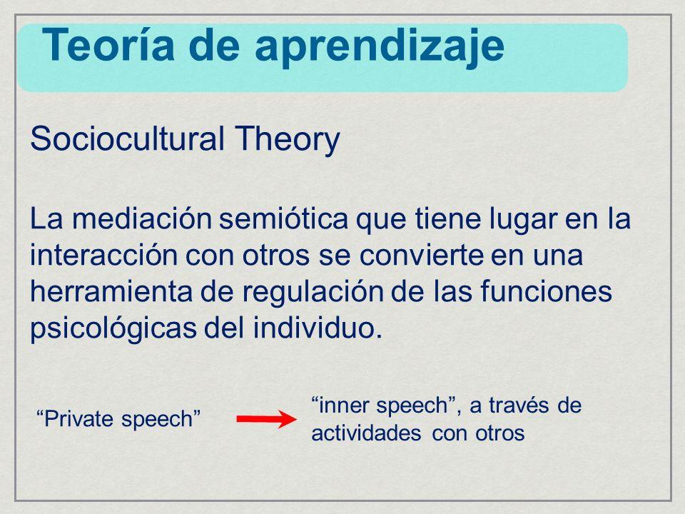 Sociocultural Theory La mediación semiótica que tiene lugar en la interacción con otros se convierte en una herramienta de regulación de las funciones psicológicas del individuo.